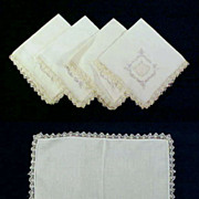 REDUCED Vintage LINEN HANKY (Hankie) Embroidered, Cutwork and Crochet Lace Set of Four (4)