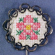 Vintage Silver & Needlepoint Petit Point STICKPIN / STICK PIN - Pink Rose