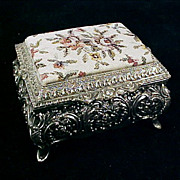 Vintage Footed Silverplate Repousse & PETIT POINT / NEEDLEPOINT Jewelry / JEWEL Box Casket