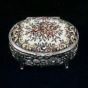 Vintage Footed OVAL Silverplate Repousse & PETIT POINT / NEEDLEPOINT Jewelry / JEWEL Box