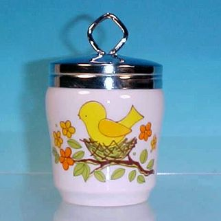 Vintage Porcelain China Egg Coddler Egg Coddle Colorful & Cheerful YELLOW BIRD CHICK IN NEST / LORRIE / King Size