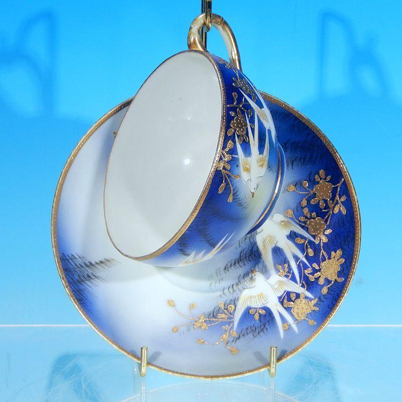 Vintage TAKITO JAPAN Fine Porcelain Hand Painted Footed Teacup (Tea cup) & Saucer Set - Deep Blue, Gold & Doves