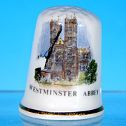 English Fine Bone China Souvenir Thimble WESTMINSTER ABBEY, England by Jean Manson