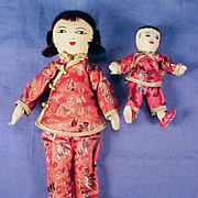 "Vintage Cloth Body Handmade Collectible Oriental JAPANESE Dolls 11"" and 5.5"" JAPAN Mother & Child"
