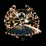 Vintage 1996 Tidings of Love Gold Plated Filigree Angel Pin Brooch with Crystal - Jane Davis / AOL