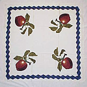 REDUCED Vintage PERRY ELLIS Womens Scarf Apple Fruit Pattern Plaid Border - Sheer Cotton/Cotto