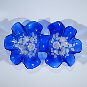 Vintage Cobalt Blue Art Glass Double Serving Bowl Ruffled Edges, Molded & Frosted Tulip Carnation Flowers & Leaves