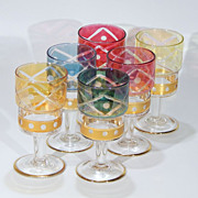 Vintage Mixed Jewel Color Crystal Glass Cut-to-Clear Cordials Liquors Sherry Port Wine Stemware Set of Six (6)