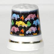 Vintage Collectible Porcelain China Souvenir Thimble Texas, Armadillos, Cacti & Chili Peppers