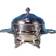 Antique Victorian-Era Quadruple Silver Plate Chased PAIRPOINT Dome Covered Butter Dish Holmes & Edwards Silverplate Butter Knife