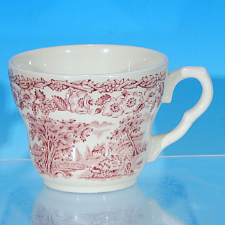 Discontinued EIT English Ironstone KINGSWOOD Pink Toile Transferware Teacup