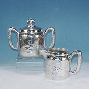 MERIDEN SILVER PLATE CO. Quadruple Silverplate Covered Sugar Bowl and Creamer Pitcher Set  (Re-Silvered)