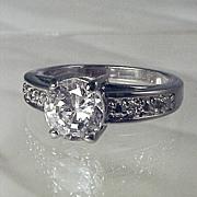 Estate Diamond 3-1/2 CT ROUND SOLITAIRE Engagement Ring CZ - Size 8