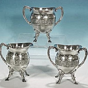 Antique Footed Pairpoint Silverplate Completer Tea Set - Orion & Canis Major Celestial Motif