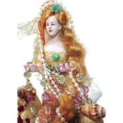 "9"" Antique German Bisque Half Doll Fantasy Mermaid lady/ Jewelry Stand/ Fairytale art dol"