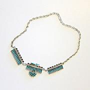 SALE Vintage Zuni Petit Point Sterling & Turquoise Necklace - Hallmarked