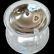 SOLD Sterling Silver Etched Glass Jelly, Jam Jar - Hallmark and Backstamp