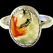 Edwardian Moss Agate Silver (835) Ring - European Hallmarked