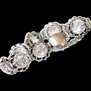 Art Deco Faceted Sterling Rock Quartz Crystal Bracelet - Hallmarked