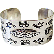 SALE Native American Navajo Hand Stamped Sterling Silver Cuff - Signed