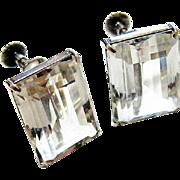 Art Deco Sterling Emerald Step Cut Rock Quartz Crystal Screw Back Earrings
