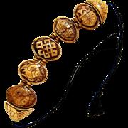 Hand Carved Bone Tile Bracelet - Necklace