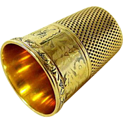 Antique Victorian 14kt Yellow Gold Engraved Thimble