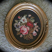 Victorian '1884' Gorgeous Needlepoint Flowers Large