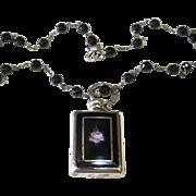 SALE Sterling Enamel Perfume Mini Bottle Necklace
