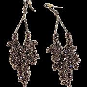 "Silver/Black Beaded 3.75"" Dangle Earrings"