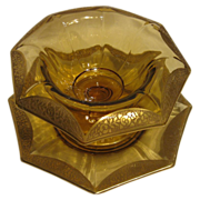 SALE Tiffin Gold Encrusted Amber Octagonal Bowl & Plate