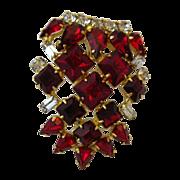 Ruby Red Rhinestone Brooch