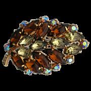 Rhinestone Leaf Brooch/Pin