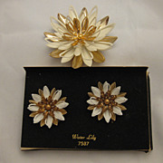 SALE Water Lily Earring & Pin/Brooch Sarah Coventry