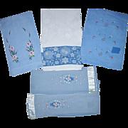 Five Blue Guest Towels