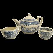 Teapot Cream/Sugar Wedgwood Queen's Ware