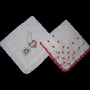 SOLD Pair of Valentine Handkerchiefs