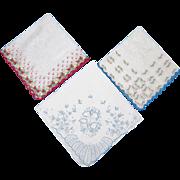 Trio of Embroidered Handkerchiefs