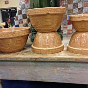 HTF Five Piece Nested Set Yellowware Bowls Watering Girl 1908 Bittersweet