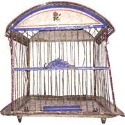 Antique Victorian Hand Painted Metal Bird Cage Red / White/ Blue