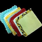 Lovely  Linen Crochet Borders Handkerchiefs