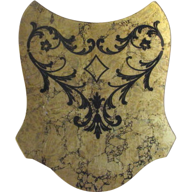 Mid Century Gold Foil with Black Velvet Leaf Design Wall Decor