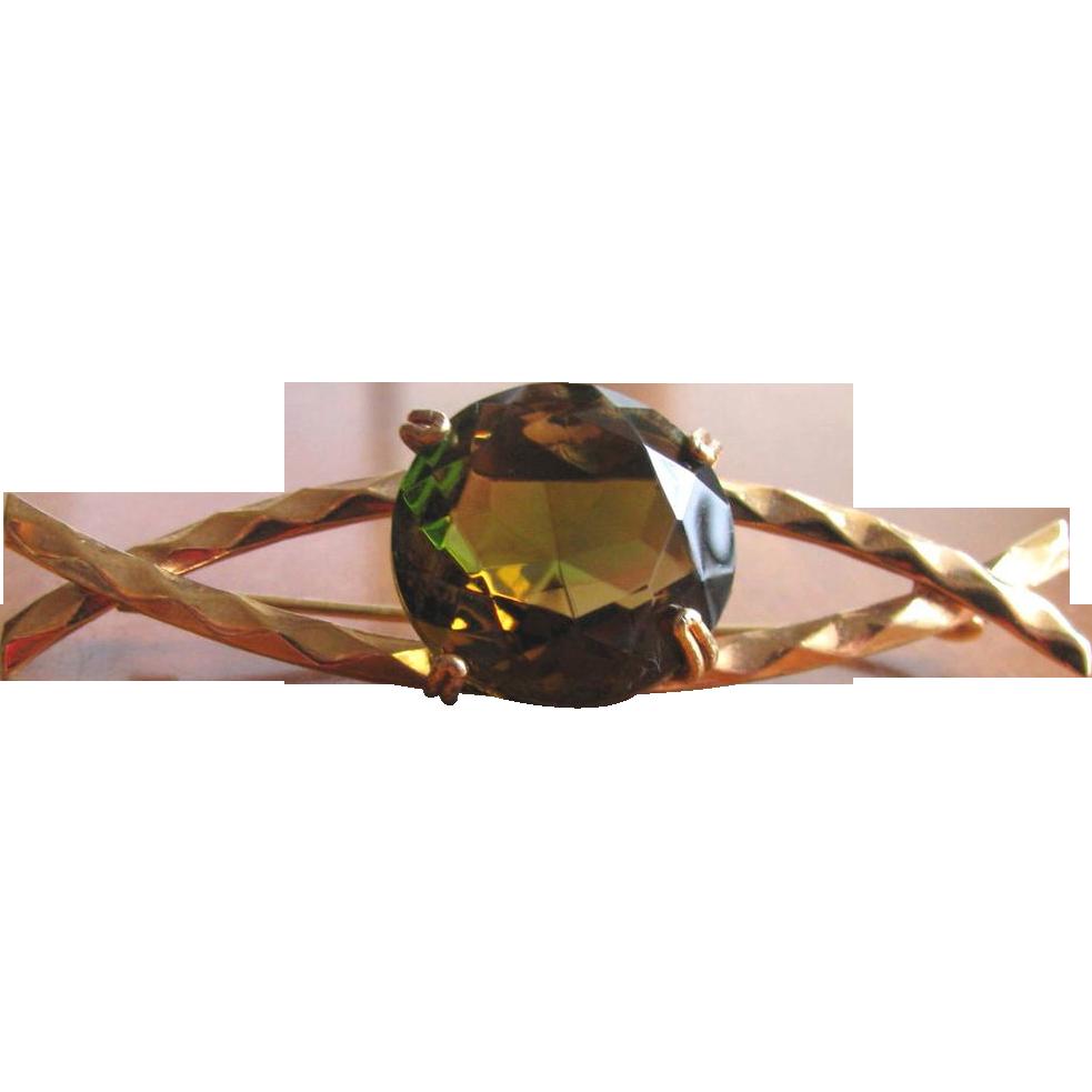 Vintage Mod Amber Green Glass Chaton Brooch