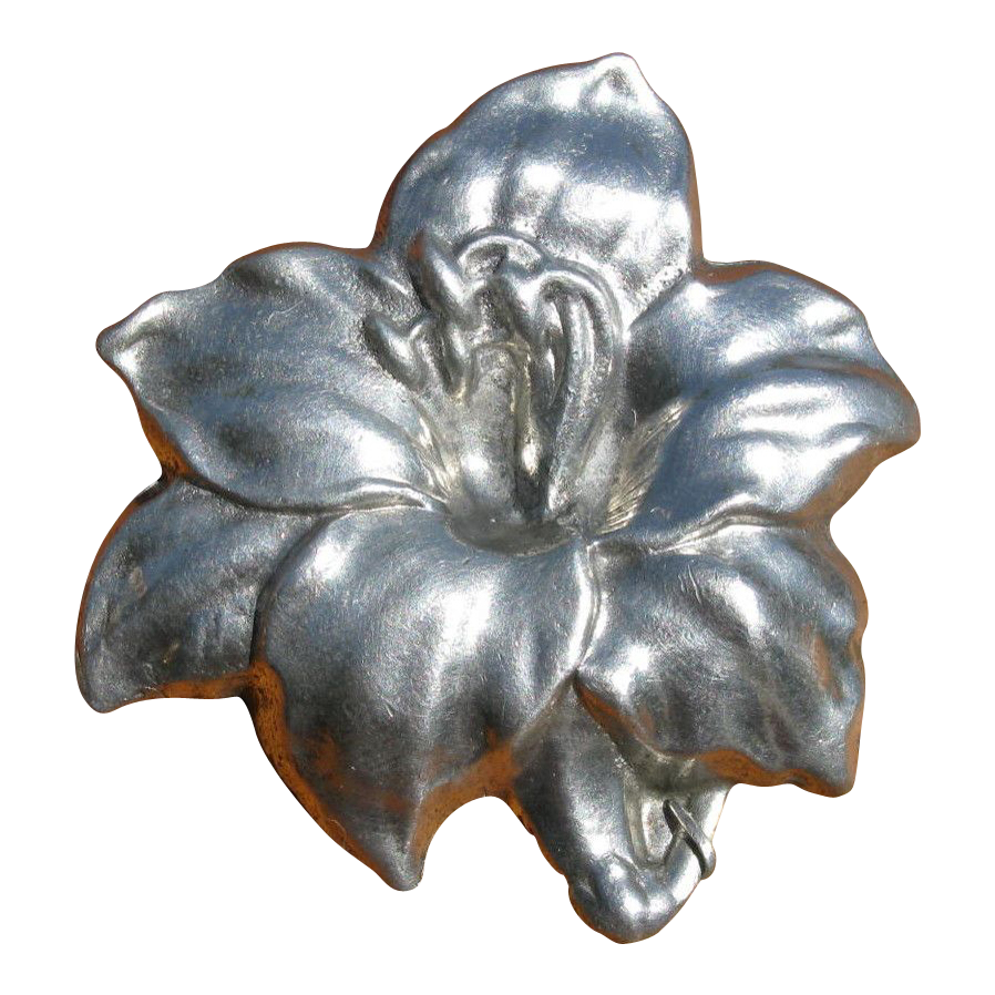 Vintage 1930's Art Nouveau Style Pewter Lily Brooch