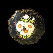 Vintage Russian Folk Art Pin White Floral