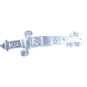 Vintage Etched Sterling Silver Sword Pin