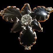 Vintage Black Glass & Rhinestone Brooch Pin