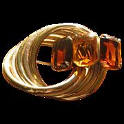 Vintage Marvella Amber Citrine Glass Circle Brooch
