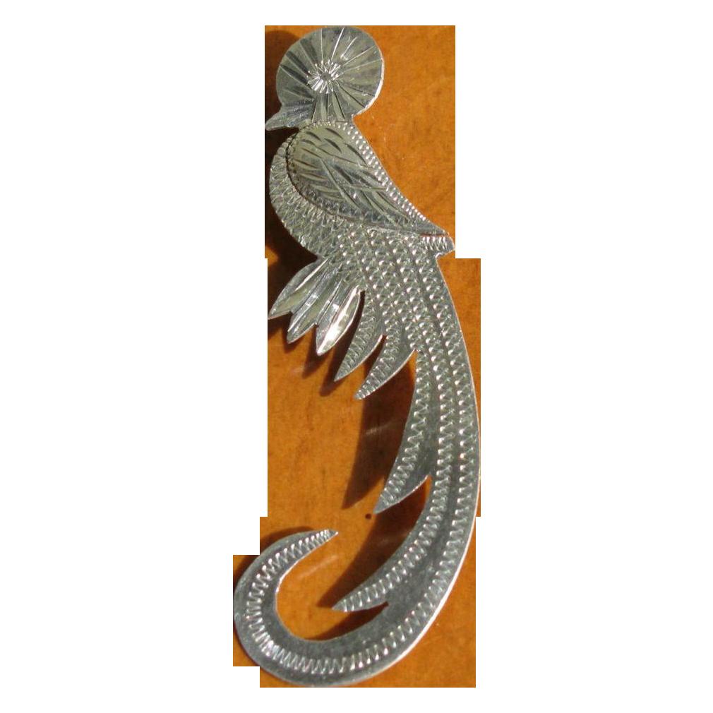 Vintage 900 Mexican Silver Quetzal Bird Brooch