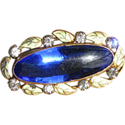 1930's Blue Oval Glass & Rhinestone Brooch